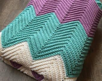 Teal, Purple, White Chevron Blanket - Crochet