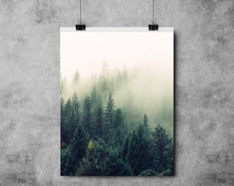 Nature Collection - Misty Forest- A4/A3 - Art - Modern - Forest/ Green / Woodland / Mist / Woods / Trees / Print
