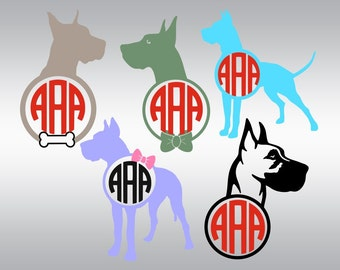 Great Dane svg, Dane svg, Dog svg, Monogram svg, Dogs svg, SVG Files, Cricut, Cameo, Cut file, Files, Clipart, Svg, DXF, Png, Pdf, Eps
