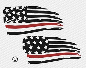 Firefighter flag svg, Firefighter distressed flag svg, American flag svg, SVG Files, Cricut, Cameo, Cut file, Clipart, Svg, DXF, Png, Eps