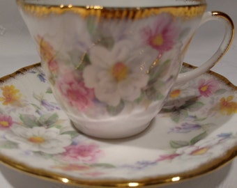 Queen's Rosina Fine Bone China Tea Cup and Saucer with Flowers and Gold