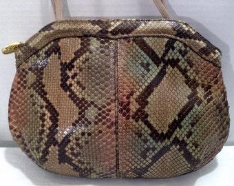 Vintage VARON Genuine Python Snakeskin Leather Beige Green Multi-Color Small Shoulder Bag