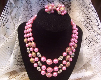 Triple Strand Pink Pearl and Crystal Necklace and Earring Set, Japan