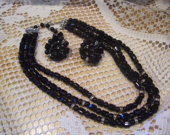 Three Strand Necklace and Earring Set,Japan