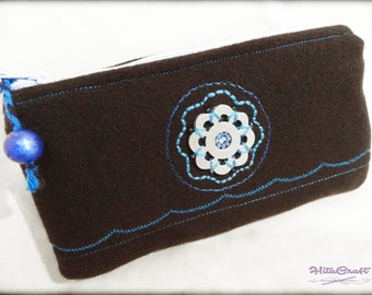 Small padded pouch - modern flower embroidery - black and blue - to store your glasses, phone, makeup, pens, etc.