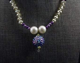 Handmade Purpl Pearled Necklace