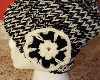 Navy and white slouchy hat, beanie, crochet flower