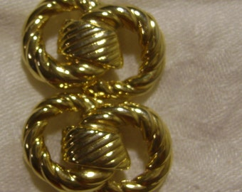 vintage pair of BLUETTE 1980s Gold plated Double Rope Rings SHOE CLIPS - made in France
