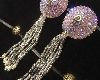 Seraphim Crystal Rhinestone Burlesque Pasties with Hand-beaded Tassels