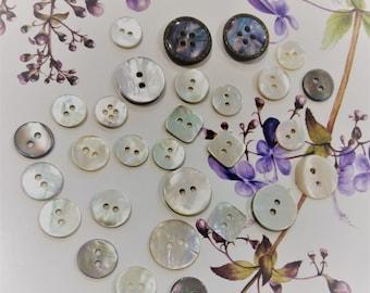 Assortment of 28 shell buttons