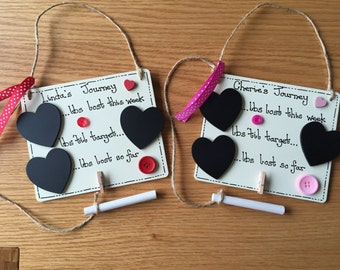 Wooden Weight Loss Plaque, Slimming World, Weight watcher, Birthday Mother's Day Gift, chalk board count down, Shabby Chic