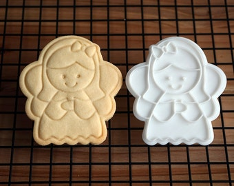 Angel with Ribbon Cookie Cutter and Stamp