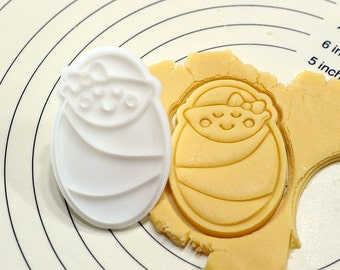 Baby Girl in Swaddling Cookie Cutter and Stamp