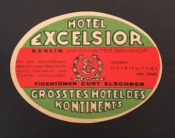 Vintage Luggage Label - HOTEL EXCELSIOR - BERLIN