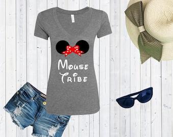 Mouse Tribe Disney Inspired V neck Tshirt / High Quality Disneyland Tshirt / Love Shirt