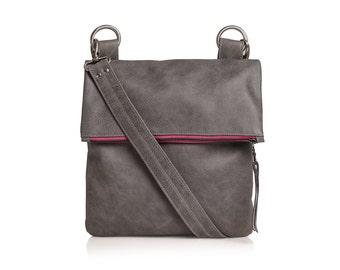 Leather bag, cross body leather bag, shoulder bag leather handbag, grey leather bag