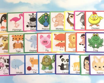 Cute animal flash cards, Nursery, Early years, Learning cards, EYFS, Children's development, Teaching resource, Pre-school, Education cards