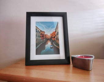 Picture of Venice Canals, Venice, Italy in Black Frame