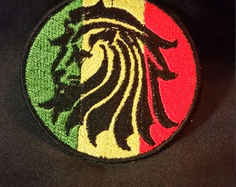 Rasta Lion - Iron On Embroidery Patches