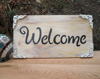 French Country Rustic Welcome Wood Sign With Wood Victorian Gingerbread Brackets, Shabby Chic Housewarming Gift, Cottage Chic, Country Home