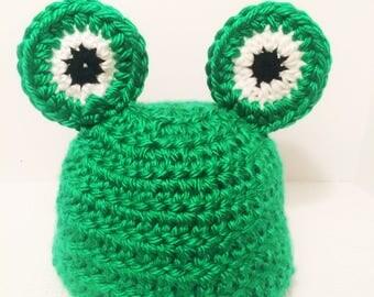 Baby beanie frog crochet hat