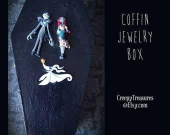 Jack, Sally & Zero Coffin Jewelry box. Hand painted. One of a kind.