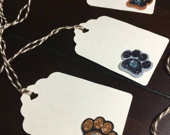 Paw Print Gift Tags, Dog Cat Favor Tags, Paw Goodie Bag Tags, Animal Lover Tags, Dog Wedding -6/order