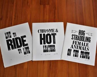 Letterpress Motorcycle Inspired Poster Art *3 piece bundle*