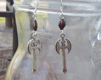Viking Lagertha War Axe Earrings - Norse Axe Earrings - Viking Dangle Earrings - SilverTone Earrings - Bronze Clay Bead Earrings