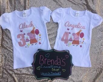 Peppa Pig Birthday shirt, Peppa pig shirt, Peppa pig Birthday tutu, Peppa Pig customized birthday shirt. Peppa Pig Tutu, Peppa pig Outfit