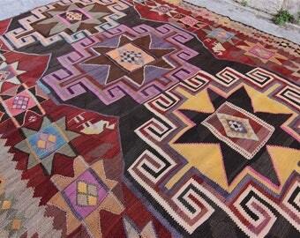 Vintage Turkish Kars Kilim, Turkish Kilim Rug, Home Decor, Home Design, Vintage Turkish Kilim, Kilim, Kilim Rug