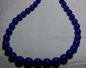 """Vintage blue beaded necklace. 24"""""""