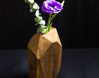 Recycled Timber Geometric Vase