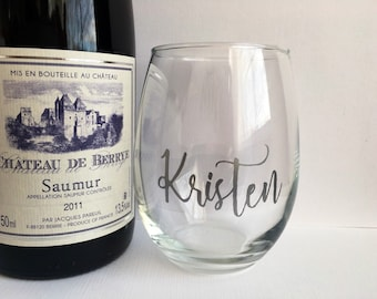 Personalized Wine Glass - Bridesmaid Gift - Custom Silver Stemless Wine Glass - Maid of Honor - Hostess Gift - Housewarming