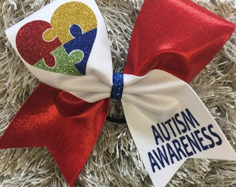 Red Autism Awareness Bow