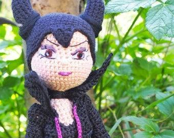 Maleficent Crochet Doll, Fine Detailed Maleficent Crochet Doll Black Purple 37 cm 15 Inch KS003