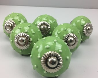 Set of 6 X  GREEN SEA URCHIN Knobs - Home decor furniture drawer pull