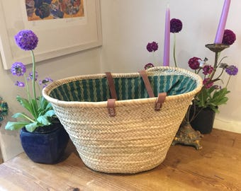 French lined shopping  basket with long leather handles
