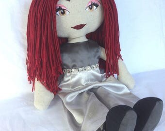 soft doll, handmade,fabric doll,rag doll,cloth doll, custom made, natural linen, australian wool, 51cm, burgandy,20""