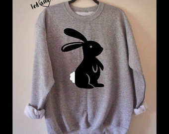 Bunny Sweatshirt, Unique design , S-XXL Ladies Sweatshirt, Mens Sweatshirt, Unisex Sweatshirt, Rabbit sweatshirt, Rabbit hoodie