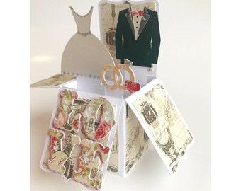 "The Beautiful ""I Do"" Wedding Engagement Pop Up Paper Cut Box Card Keepsake With Matching Envelope"