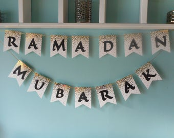 Ramadan Mubarak Banner (Gold Dots)
