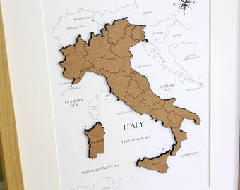 Custom Map of Italy, Wood Cut Map of Italy, Italy Map, Laser Cut Map, Custom Italy Map, Map Wall Art, Custom Map, Home Decor, 8x10 or A4