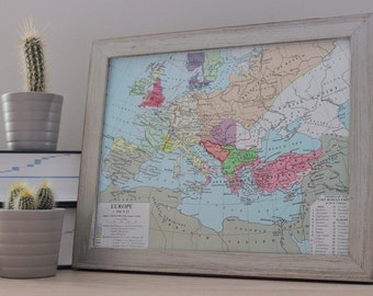 Old Vintage Framed Map Of Europe in 900AD Office Home Art Decor Original Print Scandinavian Viking Raid Routes Into UK & European Countries