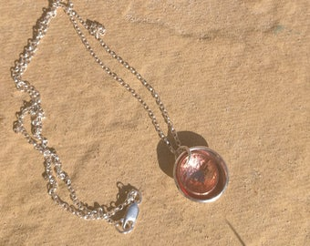Copper and silver domed necklace