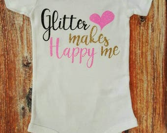 Baby Girl Clothes, Glitter Makes Me Happy Bodysuit