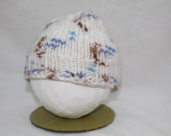 Hand Knitted Infant Hats - White/Blue/Brown