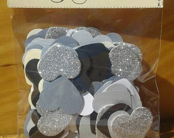 Heart / punched / gray / glitter / 150 die-cut hearts in shades of gray