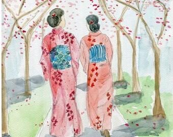 Japanese art print; Kimono; Friendship Art; Cherry Blossom print; whimsical Asian Art; Unique Asian Decor; Japanese Art; Gift for Her