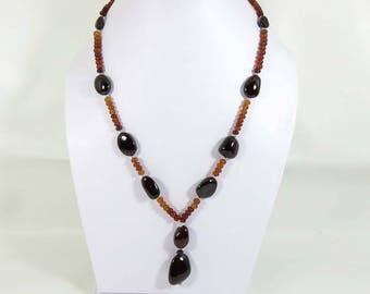 Nice~ Garnet Necklace. Natural Hessonite garnet. Charming!! Rondelle & Tumble Garnet necklace. hessonite garnet beads Necklace HSN-55
